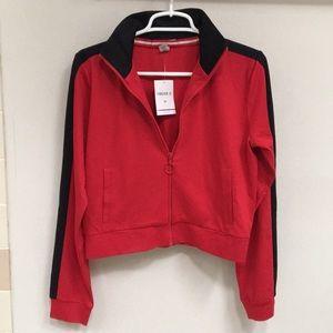 NWT! Red & Black Athletic F21 Zip-Up Sweatshirt